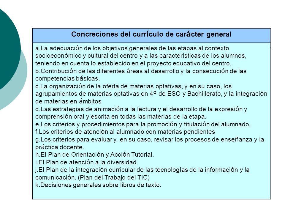 Concreciones del curr í culo de car á cter general a.La adecuaci ó n de los objetivos generales de las etapas al contexto socioecon ó mico y cultural