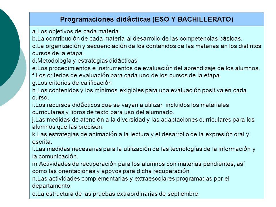 Programaciones did á cticas (ESO Y BACHILLERATO) a.Los objetivos de cada materia. b.La contribuci ó n de cada materia al desarrollo de las competencia