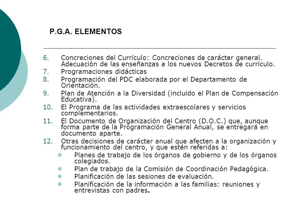 P.G.A. ELEMENTOS 6.Concreciones del Currículo: Concreciones de carácter general. Adecuación de las enseñanzas a los nuevos Decretos de currículo. 7.Pr