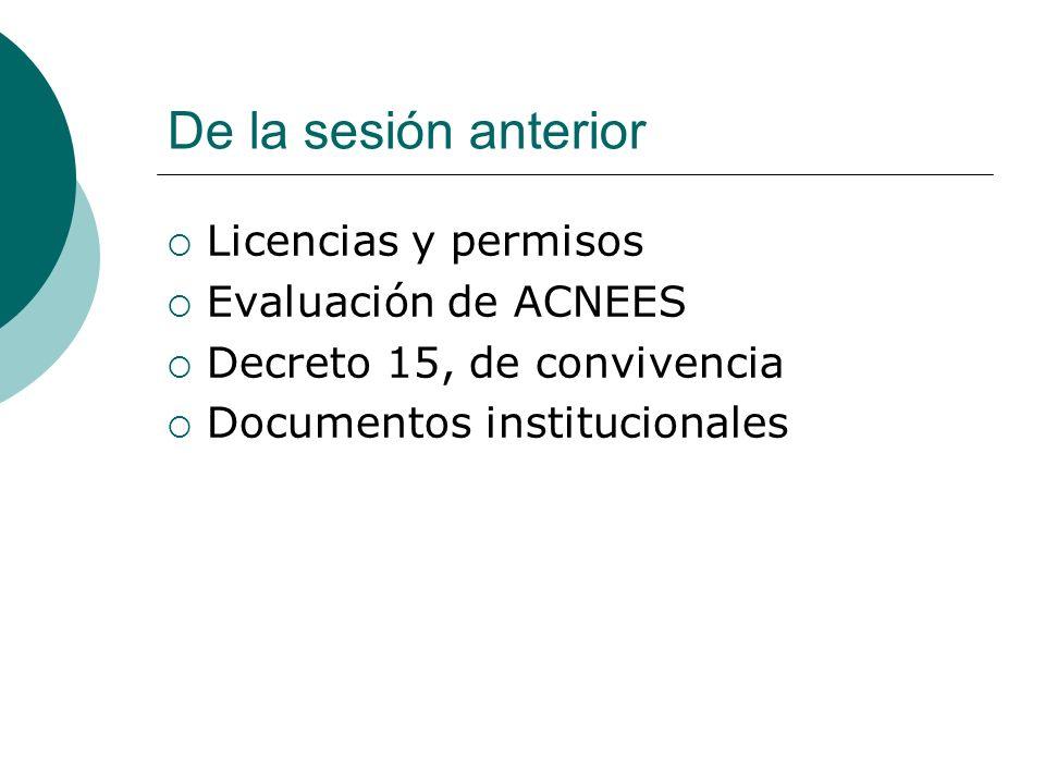 De la sesión anterior Licencias y permisos Evaluación de ACNEES Decreto 15, de convivencia Documentos institucionales