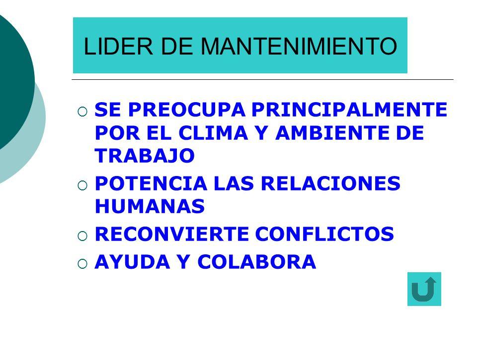 LIDER DE MANTENIMIENTO SE PREOCUPA PRINCIPALMENTE POR EL CLIMA Y AMBIENTE DE TRABAJO POTENCIA LAS RELACIONES HUMANAS RECONVIERTE CONFLICTOS AYUDA Y CO
