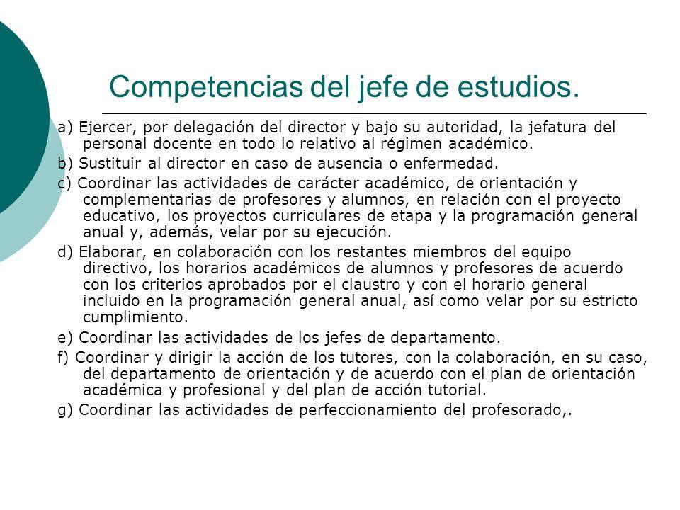 Competencias del jefe de estudios. a) Ejercer, por delegación del director y bajo su autoridad, la jefatura del personal docente en todo lo relativo a