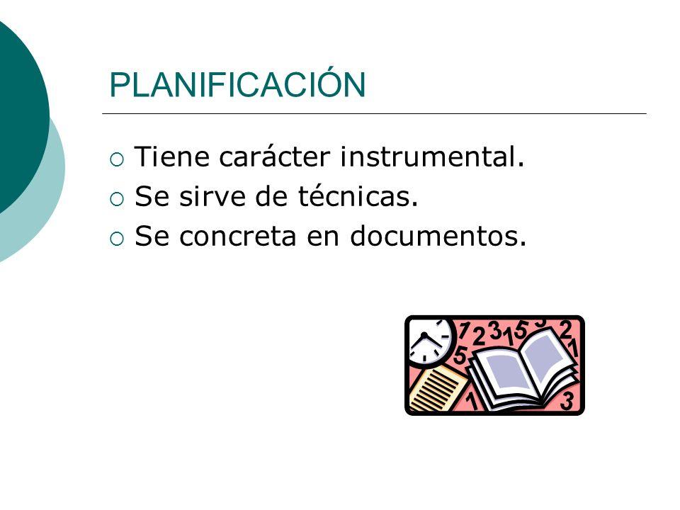 PLANIFICACIÓN Tiene carácter instrumental. Se sirve de técnicas. Se concreta en documentos.