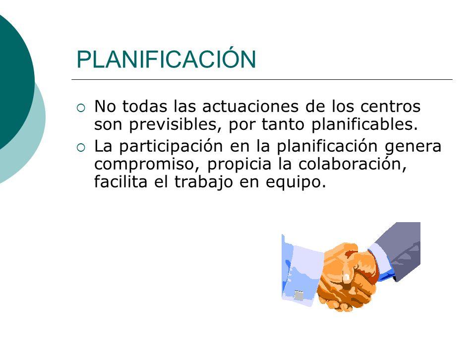 PLANIFICACIÓN No todas las actuaciones de los centros son previsibles, por tanto planificables. La participación en la planificación genera compromiso