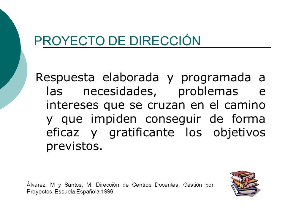 PROYECTO DE DIRECCIÓN Respuesta elaborada y programada a las necesidades, problemas e intereses que se cruzan en el camino y que impiden conseguir de