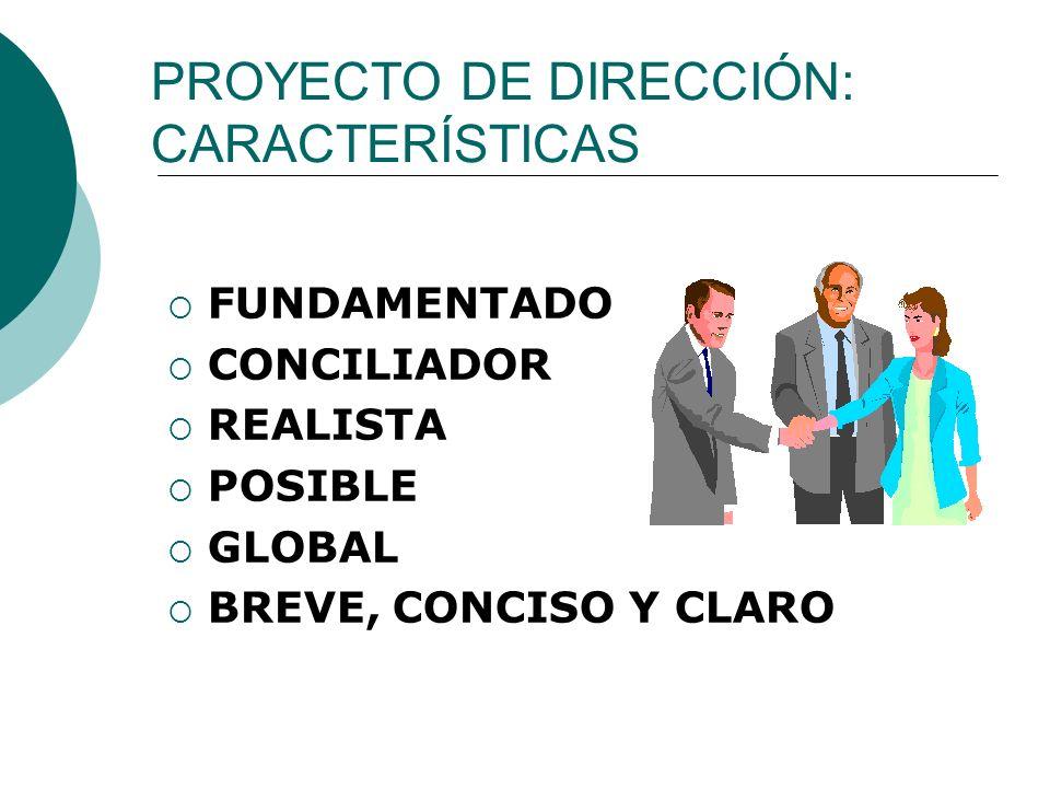 PROYECTO DE DIRECCIÓN: CARACTERÍSTICAS FUNDAMENTADO CONCILIADOR REALISTA POSIBLE GLOBAL BREVE, CONCISO Y CLARO