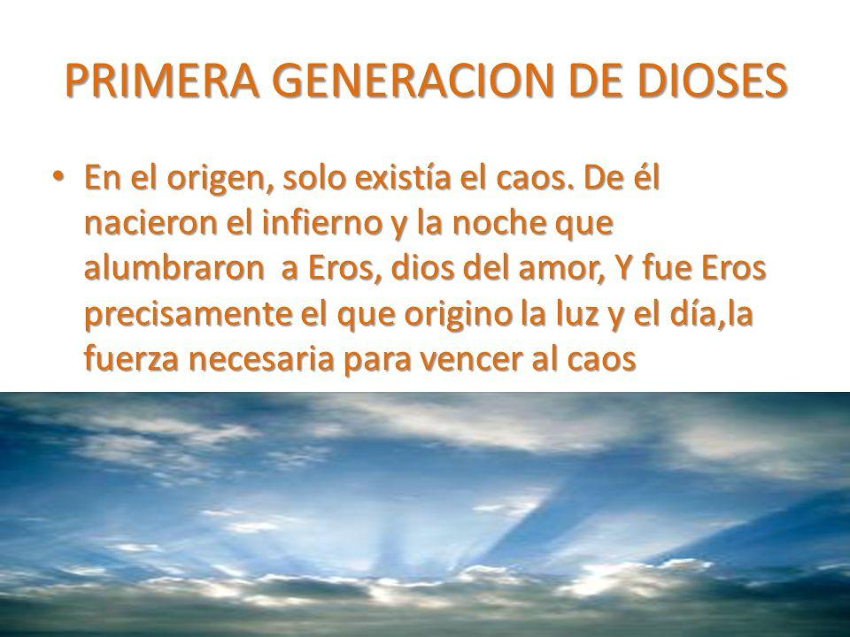PRIMERA GENERACION DE DIOSES En el origen, solo existía el caos.