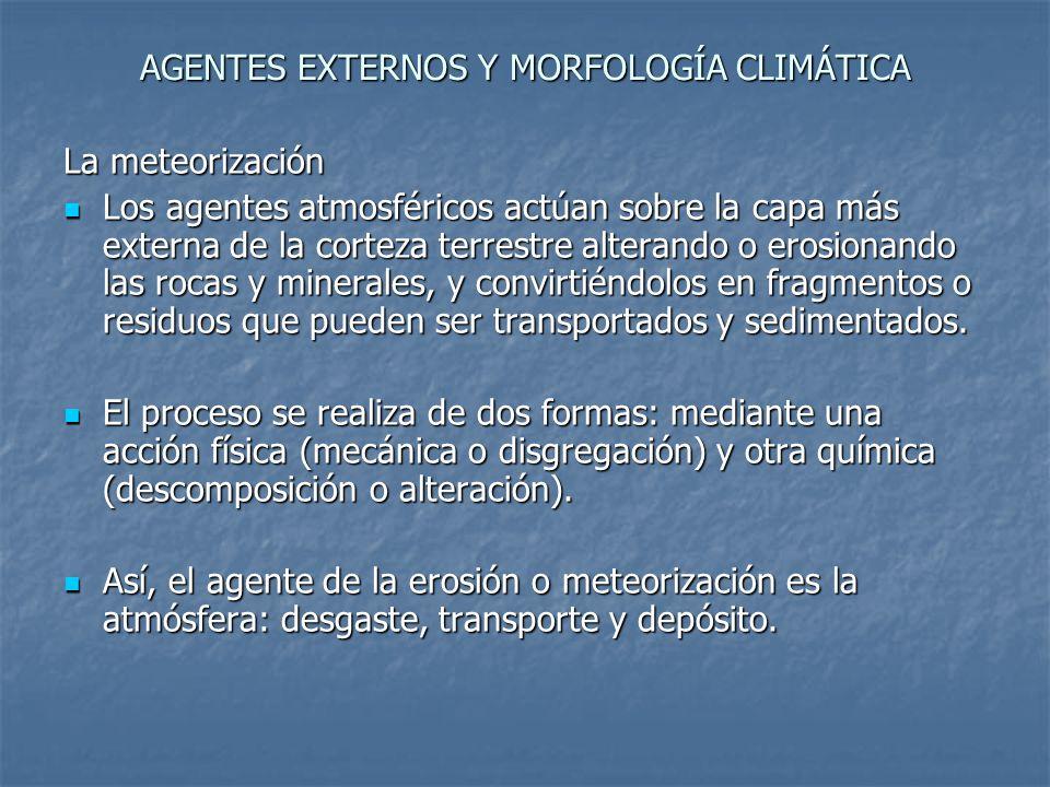 AGENTES EXTERNOS Y MORFOLOGÍA CLIMÁTICA La meteorización mecánica (La meteorización mecánica es la disgregación física de las rocas en fragmentos.) Temperatura: dilatación Temperatura: dilatación Agua: crioclastia, gelivación o gelifracción Agua: crioclastia, gelivación o gelifracción Actividad biológica: raices Actividad biológica: raices