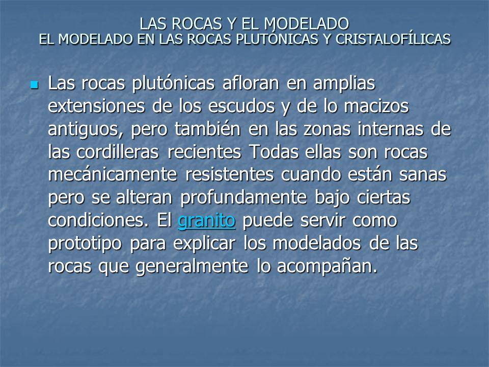 LAS ROCAS Y EL MODELADO EL MODELADO EN LAS ROCAS PLUTÓNICAS Y CRISTALOFÍLICAS Las formas típicas de las regiones graníticas: 1- Las formas más típicas de la región granítica son las BOLAS.