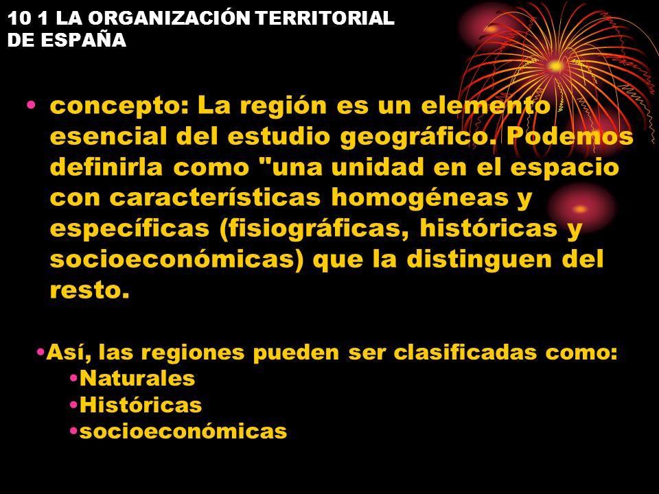10 1 LA ORGANIZACIÓN TERRITORIAL DE ESPAÑA unidades territoriales determinadas por la configuración del suelo, relieve e hidrografía, el clima y la vegetación.
