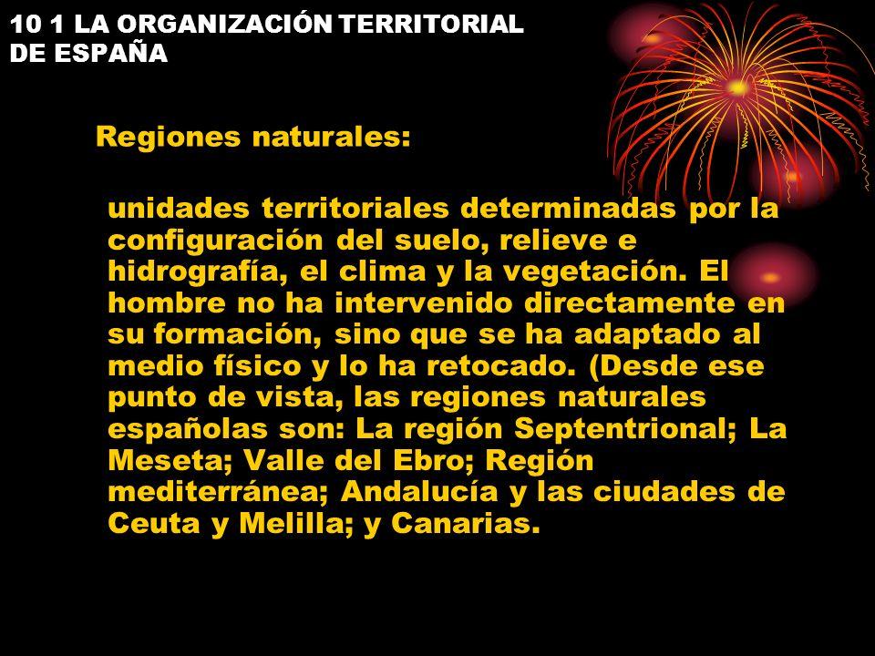 10 1 LA ORGANIZACIÓN TERRITORIAL DE ESPAÑA unidades territoriales determinadas por la configuración del suelo, relieve e hidrografía, el clima y la ve