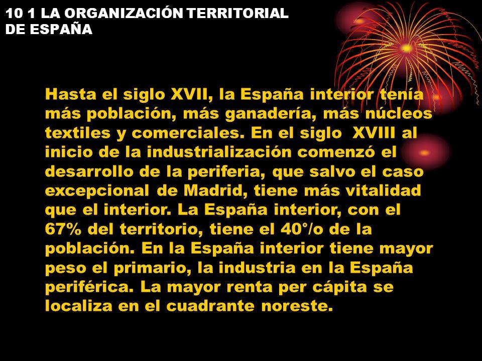 10 1 LA ORGANIZACIÓN TERRITORIAL DE ESPAÑA Hasta el siglo XVII, la España interior tenía más población, más ganadería, más núcleos textiles y comercia