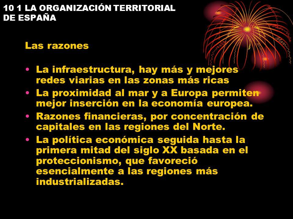 10 1 LA ORGANIZACIÓN TERRITORIAL DE ESPAÑA La infraestructura, hay más y mejores redes viarias en las zonas más ricas La proximidad al mar y a Europa