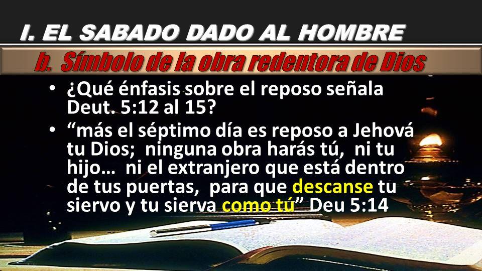 ¿Qué énfasis sobre el reposo señala Deut. 5:12 al 15? ¿Qué énfasis sobre el reposo señala Deut. 5:12 al 15? más el séptimo día es reposo a Jehová tu D