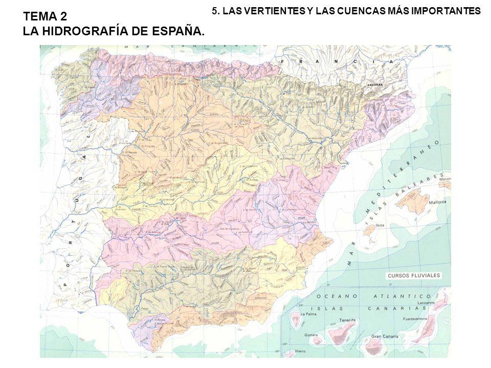 Distinguimos tres grandes vertientes: la cantábrico-gallega, con regímenes pluvial oceánico y pluvionival, la atlántica con régimen pluvial subtropical y la mediterránea donde se extiende el régimen pluvial mediterráneo.
