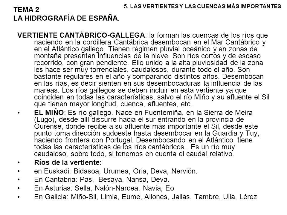 VERTIENTE CANTÁBRICO-GALLEGA: la forman las cuencas de los ríos que naciendo en la cordillera Cantábrica desembocan en el Mar Cantábrico y en el Atlán