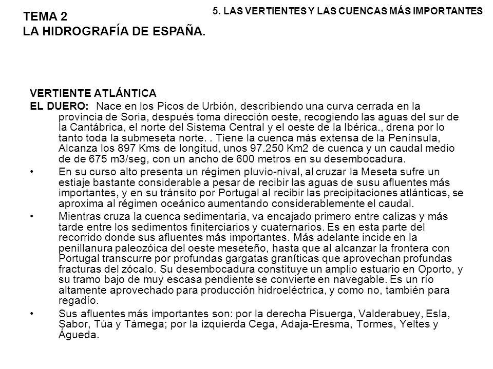 VERTIENTE ATLÁNTICA EL DUERO: Nace en los Picos de Urbión, describiendo una curva cerrada en la provincia de Soria, después toma dirección oeste, reco