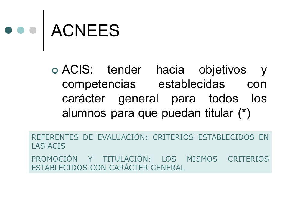 ACNEES ACIS: tender hacia objetivos y competencias establecidas con carácter general para todos los alumnos para que puedan titular (*) REFERENTES DE