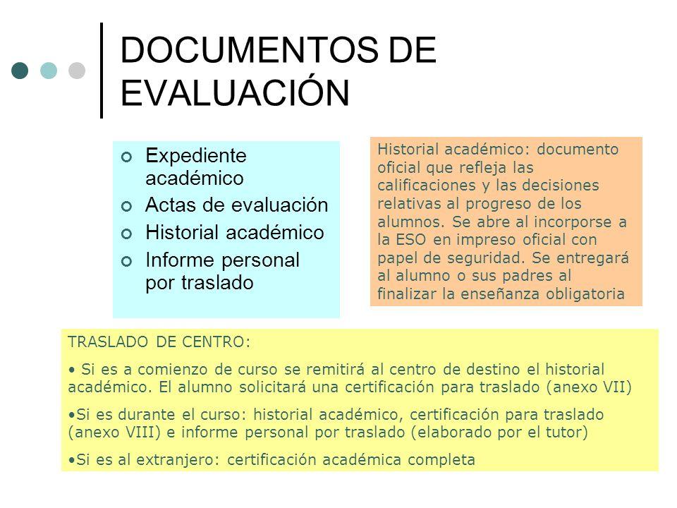 DOCUMENTOS DE EVALUACIÓN Expediente académico Actas de evaluación Historial académico Informe personal por traslado Historial académico: documento ofi