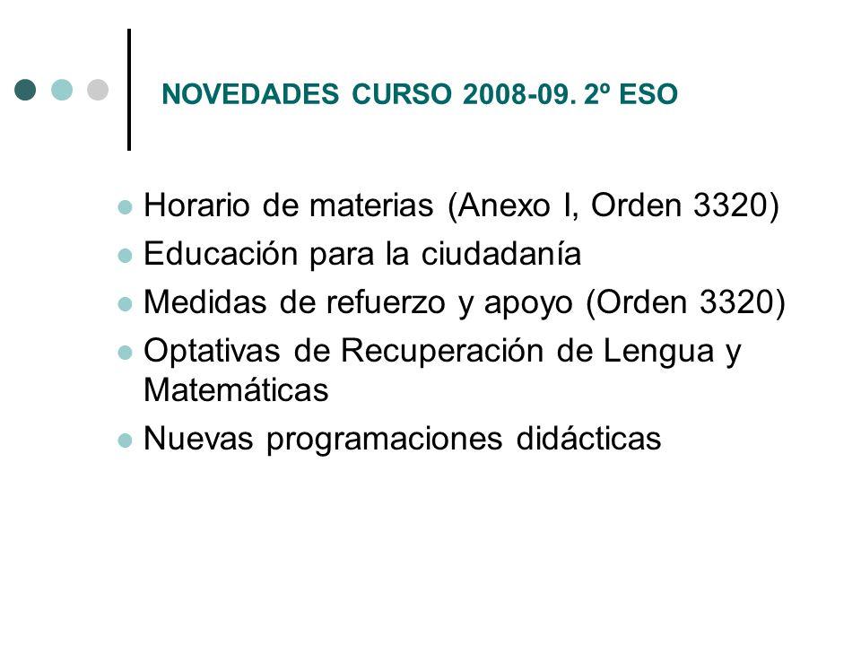 NOVEDADES CURSO 2008-09. 2º ESO Horario de materias (Anexo I, Orden 3320) Educación para la ciudadanía Medidas de refuerzo y apoyo (Orden 3320) Optati