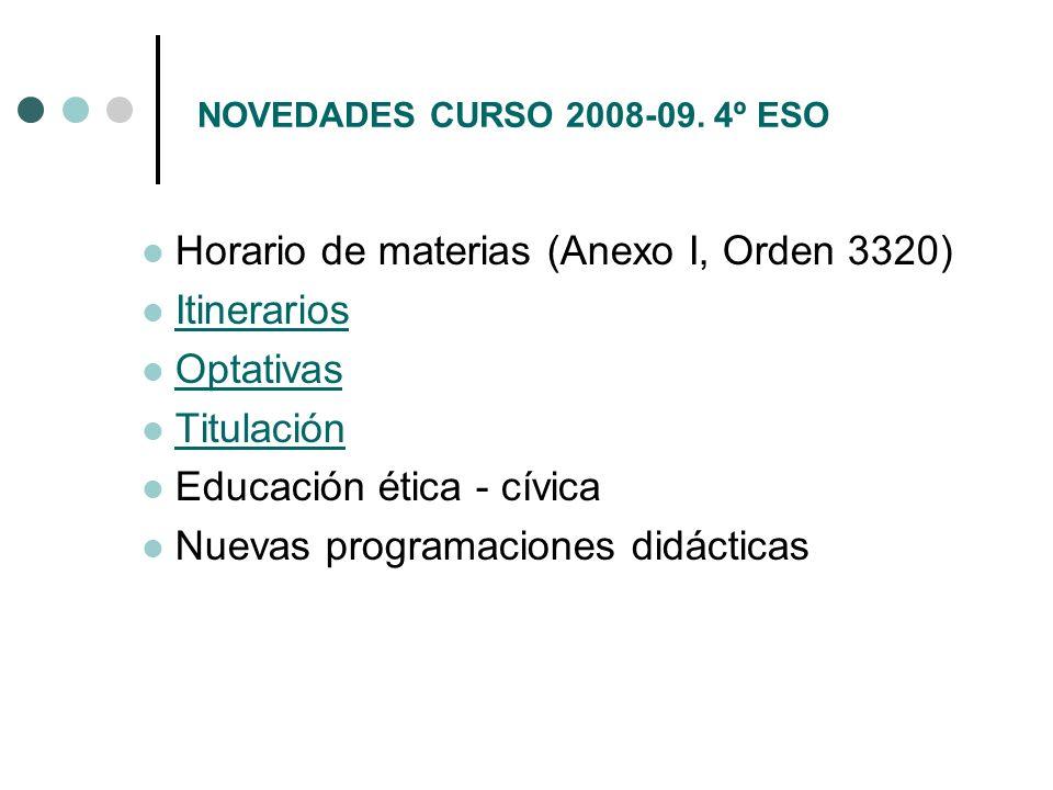 NOVEDADES CURSO 2008-09. 4º ESO Horario de materias (Anexo I, Orden 3320) Itinerarios Optativas Titulación Educación ética - cívica Nuevas programacio