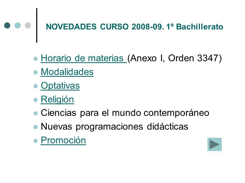 NOVEDADES CURSO 2008-09. 1º Bachillerato Horario de materias (Anexo I, Orden 3347) Horario de materias Modalidades Optativas Religión Ciencias para el