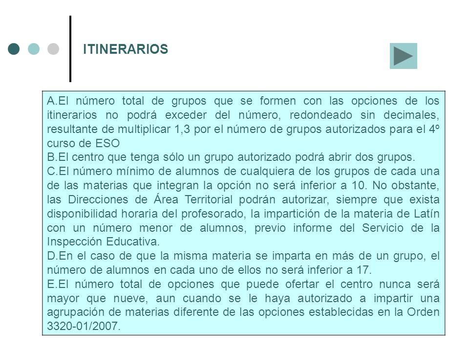 ITINERARIOS A.El número total de grupos que se formen con las opciones de los itinerarios no podrá exceder del número, redondeado sin decimales, resul