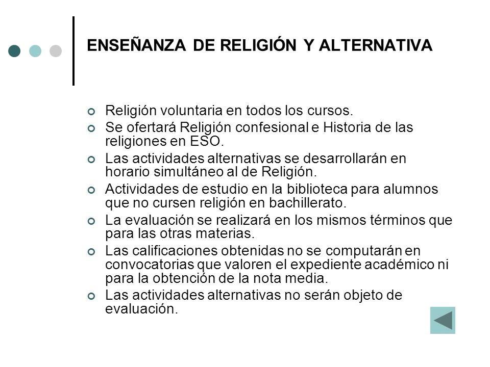 ENSEÑANZA DE RELIGIÓN Y ALTERNATIVA Religión voluntaria en todos los cursos. Se ofertará Religión confesional e Historia de las religiones en ESO. Las