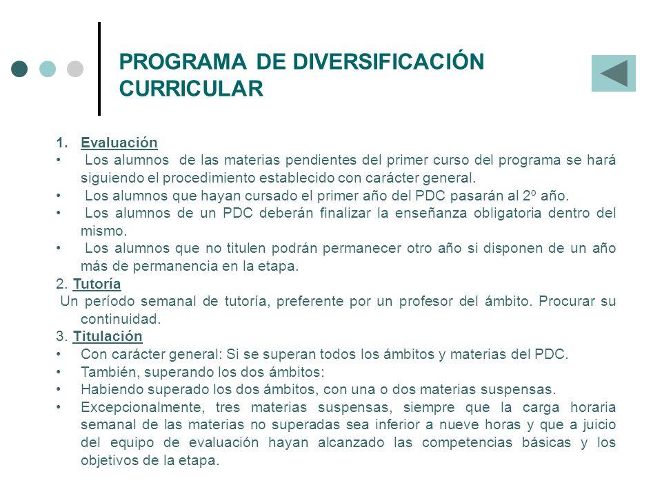 PROGRAMA DE DIVERSIFICACIÓN CURRICULAR 1.Evaluación Los alumnos de las materias pendientes del primer curso del programa se hará siguiendo el procedim