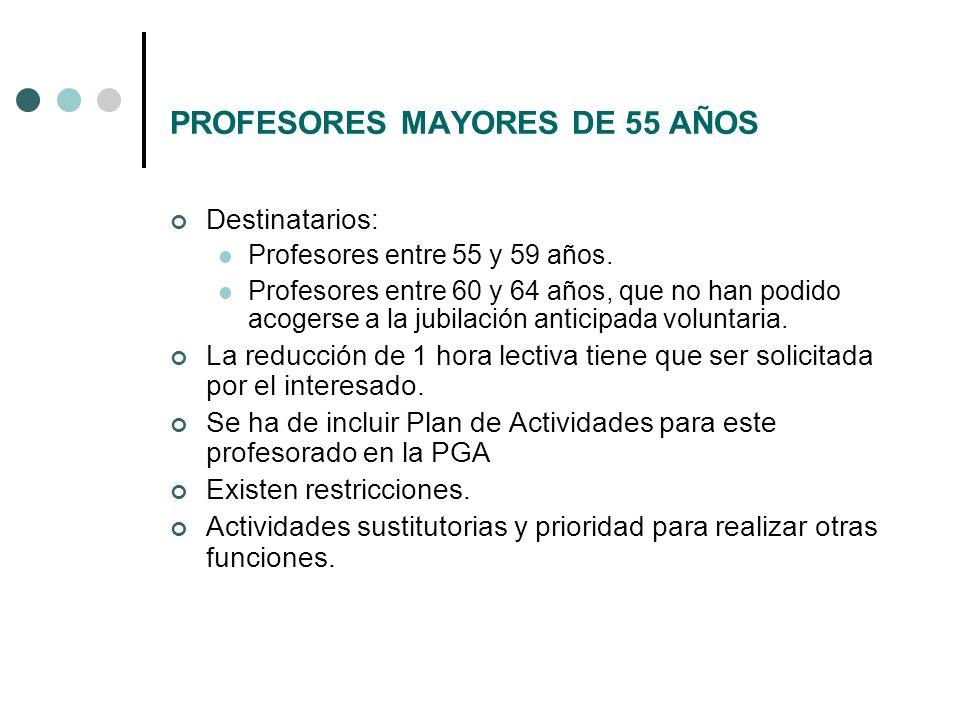PROFESORES MAYORES DE 55 AÑOS Destinatarios: Profesores entre 55 y 59 años. Profesores entre 60 y 64 años, que no han podido acogerse a la jubilación
