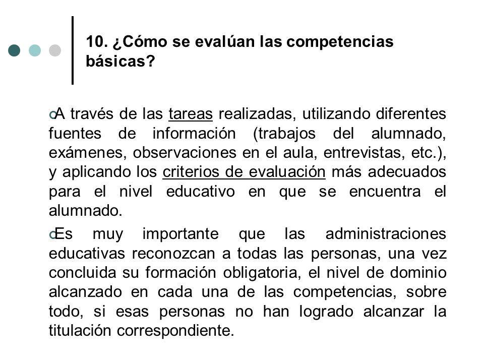 10. ¿Cómo se evalúan las competencias básicas? A través de las tareas realizadas, utilizando diferentes fuentes de información (trabajos del alumnado,