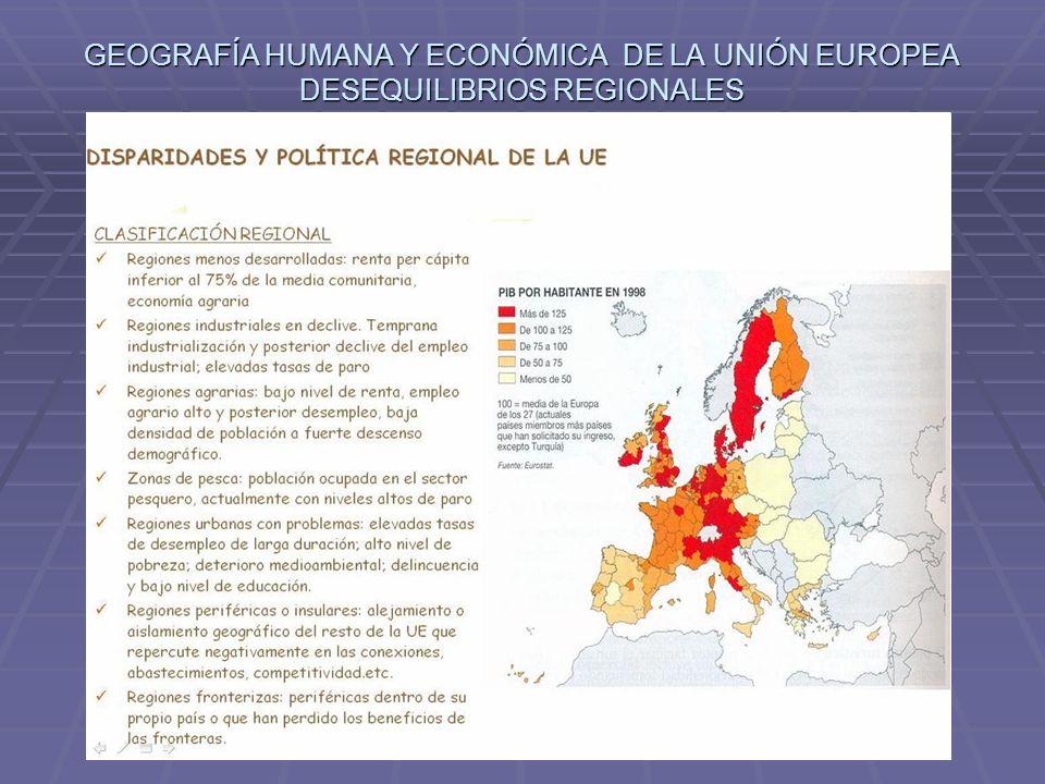 GEOGRAFÍA HUMANA Y ECONÓMICA DE LA UNIÓN EUROPEA DESEQUILIBRIOS REGIONALES