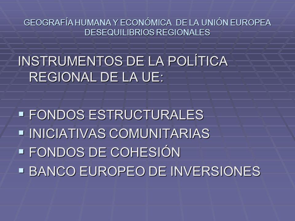 INSTRUMENTOS DE LA POLÍTICA REGIONAL DE LA UE: FONDOS ESTRUCTURALES FONDOS ESTRUCTURALES INICIATIVAS COMUNITARIAS INICIATIVAS COMUNITARIAS FONDOS DE C
