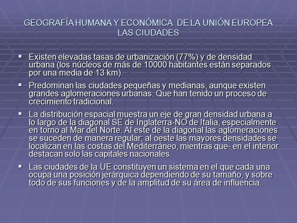 GEOGRAFÍA HUMANA Y ECONÓMICA DE LA UNIÓN EUROPEA LAS CIUDADES Existen elevadas tasas de urbanización (77%) y de densidad urbana (los núcleos de más de