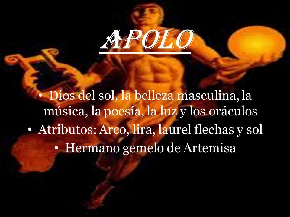 ARTEMISA Diosa de la caza, la naturaleza (Bosques y selvas ) y la luna Atributos: Arco, carcaj y flechas Voto de castidad Hermana gemela de Apolo