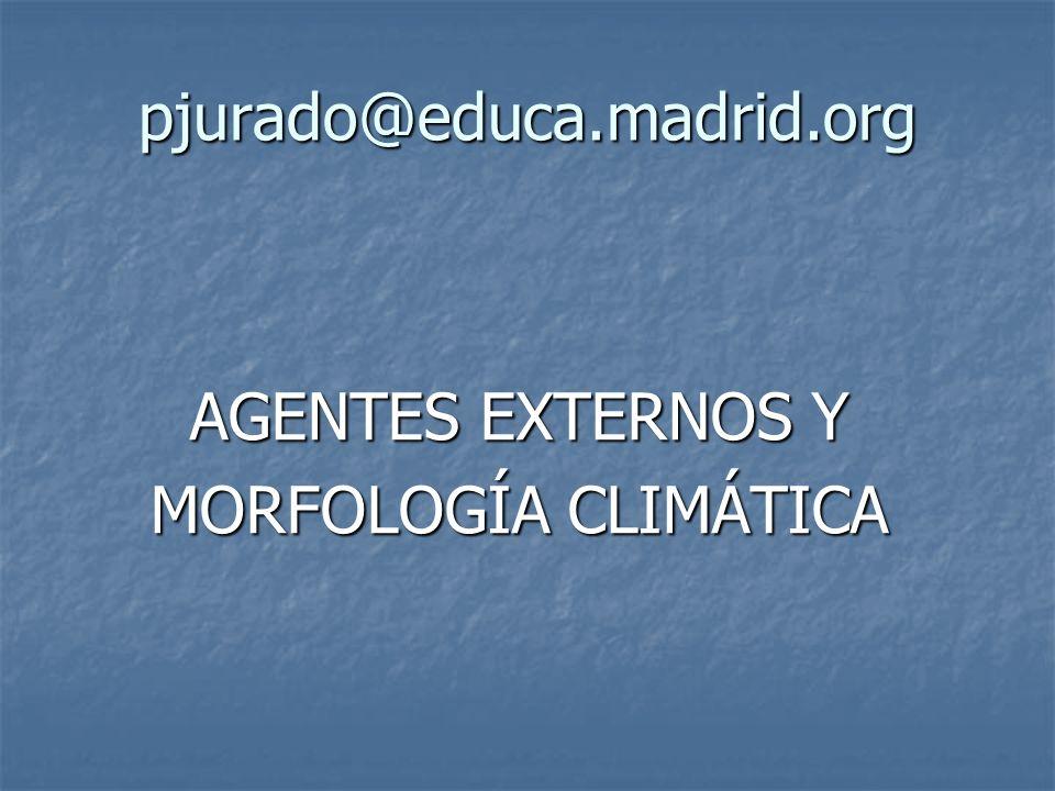 pjurado@educa.madrid.org AGENTES EXTERNOS Y MORFOLOGÍA CLIMÁTICA