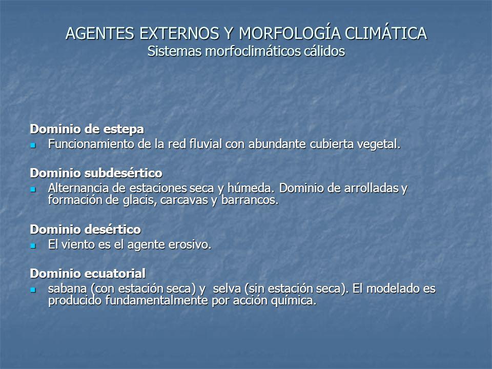 AGENTES EXTERNOS Y MORFOLOGÍA CLIMÁTICA Sistemas morfoclimáticos cálidos Dominio de estepa Funcionamiento de la red fluvial con abundante cubierta veg