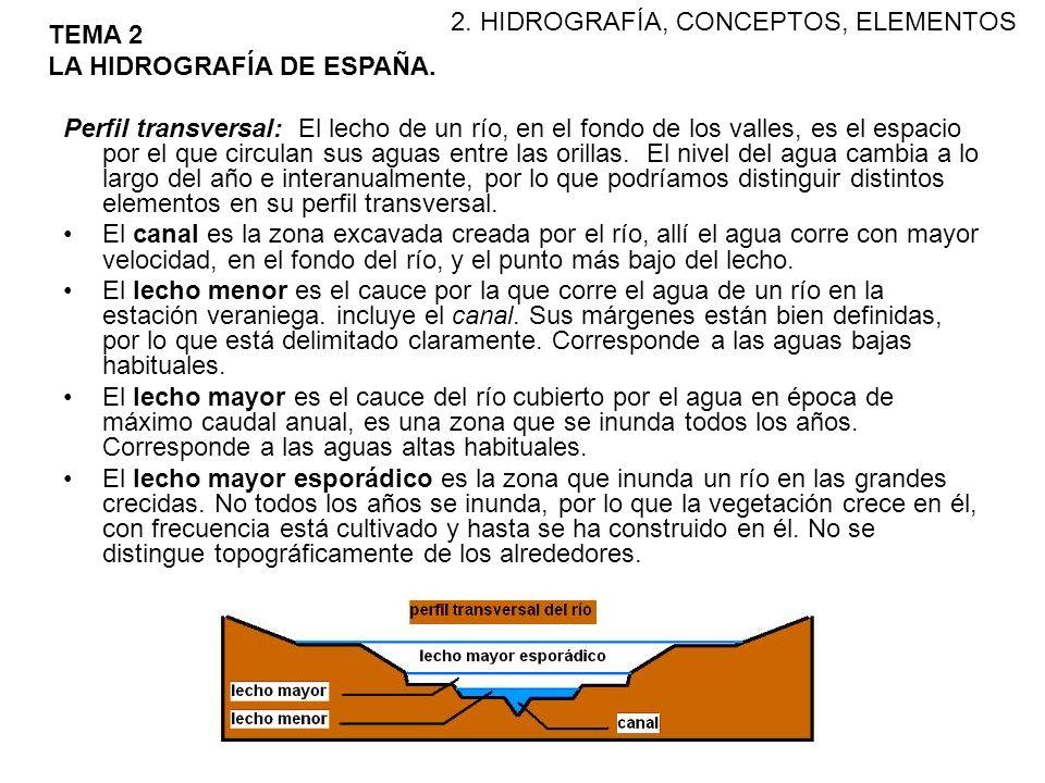 El perfil longitudinal: El curso de un río se subdivide en alto (cabecera), medio (llanuras aluviales) y bajo (cercano a la desembocadura).