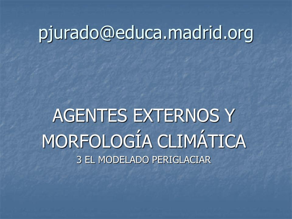 AGENTES EXTERNOS Y MORFOLOGÍA CLIMÁTICA Sistema morfoclimático periglaciar Existe alternancia de hielo-deshielo Gelivación o gelifracción Gelivación o gelifracción Crioclastia, pedreras, pedrizas, o canchales.