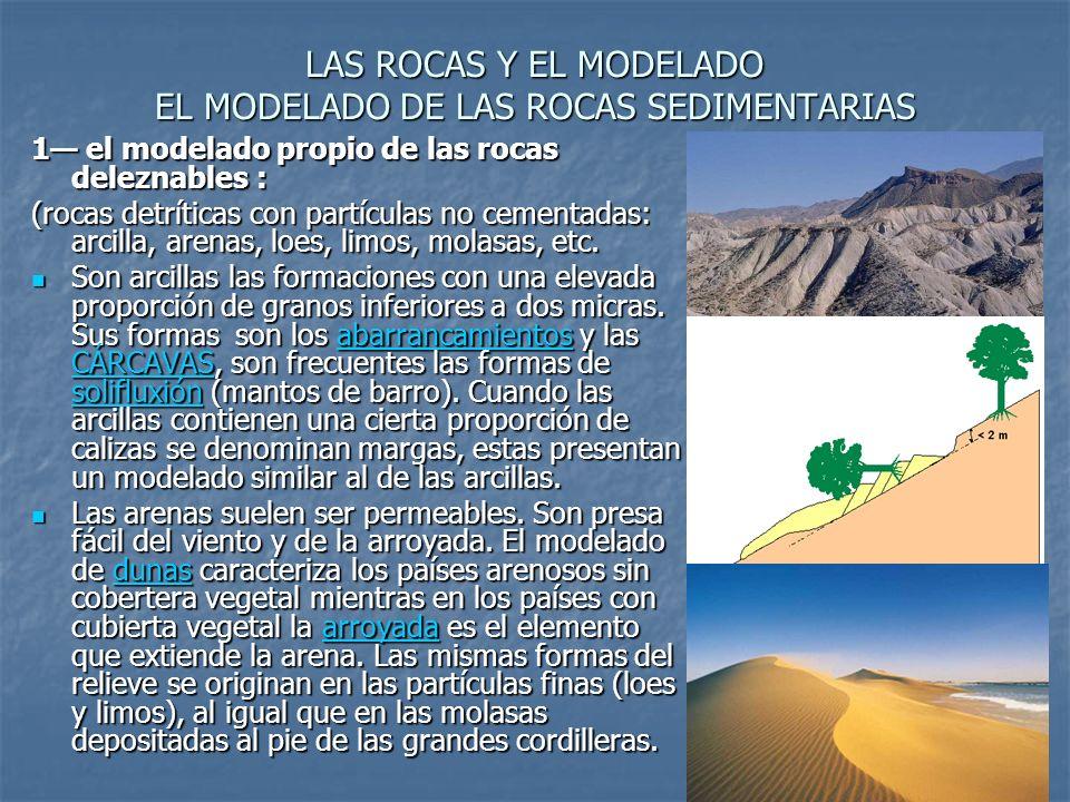 LAS ROCAS Y EL MODELADO EL MODELADO DE LAS ROCAS SEDIMENTARIAS 1 el modelado propio de las rocas deleznables : (rocas detríticas con partículas no cementadas: arcilla, arenas, loes, limos, molasas, etc.