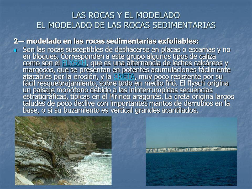 LAS ROCAS Y EL MODELADO EL MODELADO DE LAS ROCAS SEDIMENTARIAS 2 modelado en las rocas sedimentarias exfoliables: Son las rocas susceptibles de deshacerse en placas o escamas y no en bloques.