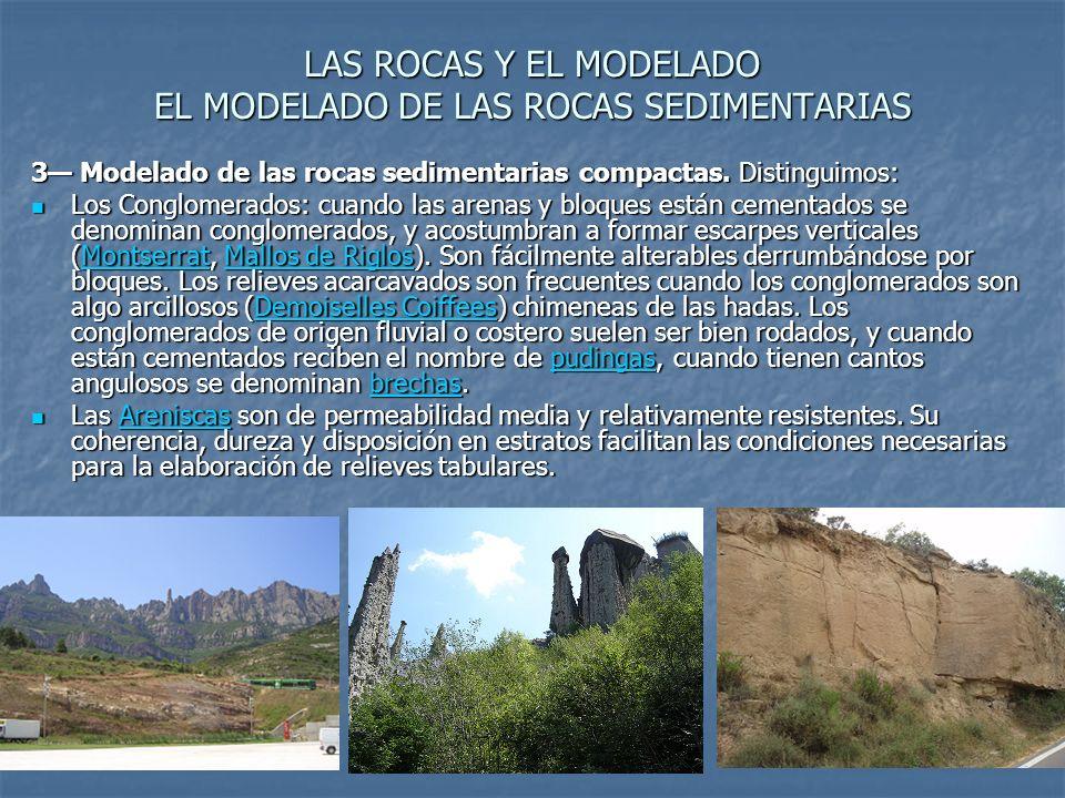 LAS ROCAS Y EL MODELADO EL MODELADO DE LAS ROCAS SEDIMENTARIAS 3 Modelado de las rocas sedimentarias compactas.