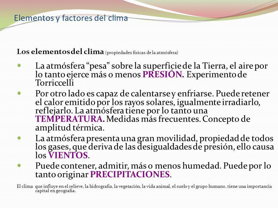 Elementos y factores del clima Los elementos del clima (propiedades físicas de la atmósfera) La atmósfera pesa sobre la superficie de la Tierra, el ai