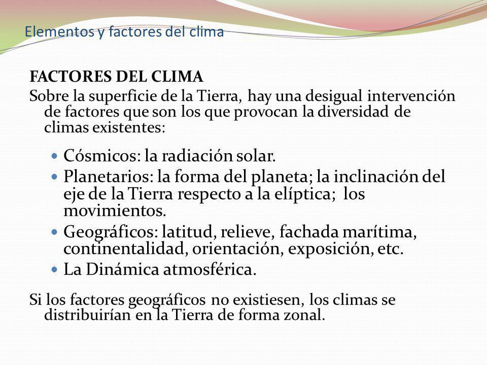 Elementos y factores del clima FACTORES DEL CLIMA Sobre la superficie de la Tierra, hay una desigual intervención de factores que son los que provocan