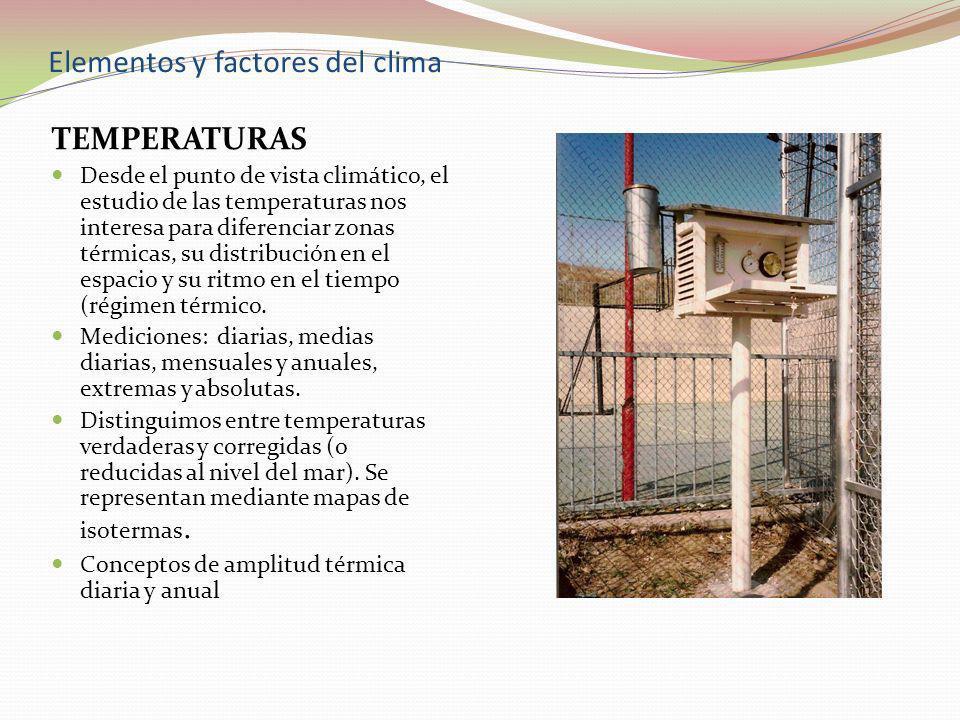 Elementos y factores del clima TEMPERATURAS Desde el punto de vista climático, el estudio de las temperaturas nos interesa para diferenciar zonas térm