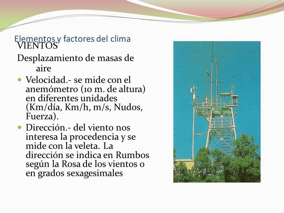 Elementos y factores del clima VIENTOS Desplazamiento de masas de aire Velocidad.- se mide con el anemómetro (10 m. de altura) en diferentes unidades