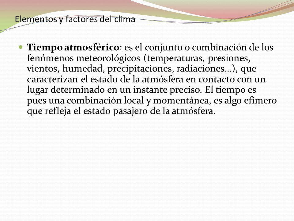 Elementos y factores del clima Tiempo atmosférico: es el conjunto o combinación de los fenómenos meteorológicos (temperaturas, presiones, vientos, humedad, precipitaciones, radiaciones...), que caracterizan el estado de la atmósfera en contacto con un lugar daterminado en un instante preciso.