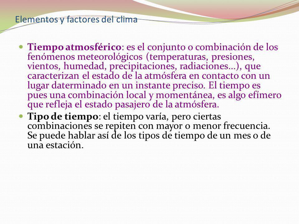 Elementos y factores del clima Tiempo atmosférico: es el conjunto o combinación de los fenómenos meteorológicos (temperaturas, presiones, vientos, hum