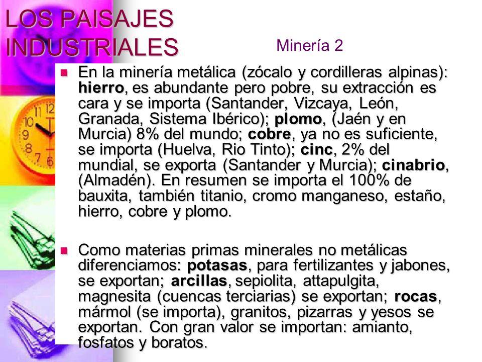 LOS PAISAJES INDUSTRIALES En la minería metálica (zócalo y cordilleras alpinas): hierro, es abundante pero pobre, su extracción es cara y se importa (