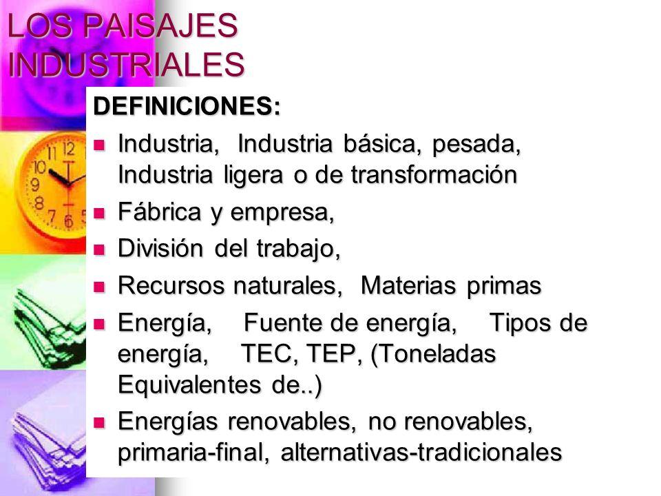 LOS PAISAJES INDUSTRIALES DEFINICIONES: Industria, Industria básica, pesada, Industria ligera o de transformación Industria, Industria básica, pesada,